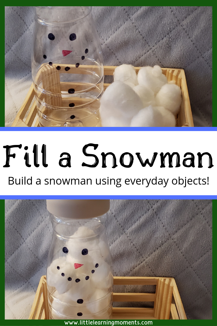 Fill a snowman is a fun winter activity that will help your toddler practice their fine motor skills.