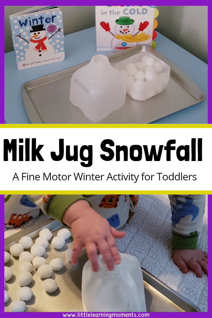 This fun activity uses two items that you likely have in your house. It helps kids practice their fine motor and counting skills while having fun on a cold winter day.
