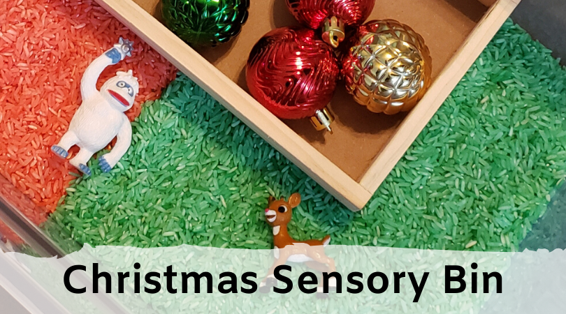Sensory bin with Christmas objects