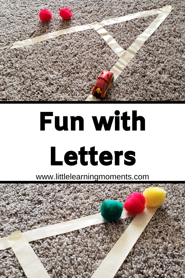 Your toddler or preschooler will love practicing letters with tape and small objects!