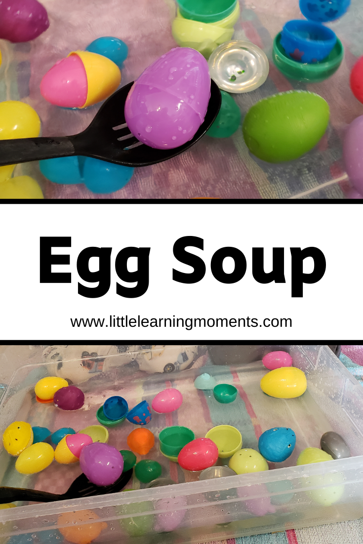 A little water and some plastic eggs will keep your toddler entertained for a while with this fine motor play activity!