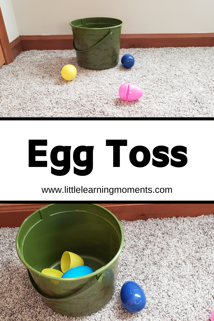 Entertain your toddler with plastic Easter eggs and a bucket! This fun game of toss will bring a smile to their face.